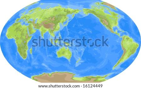 World Map Asia Centered.Robinson World Map Asia Centered Stock Illustration 16124449