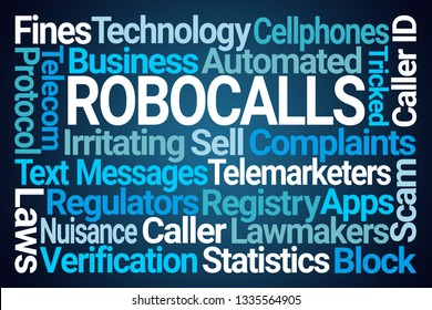 Robocalls Word Cloud on Blue Background