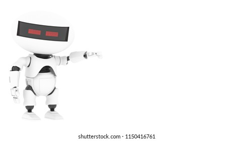 Robot 3d rendering illustration on white background. Droid 3d rendering. Technic science and futuristic background.