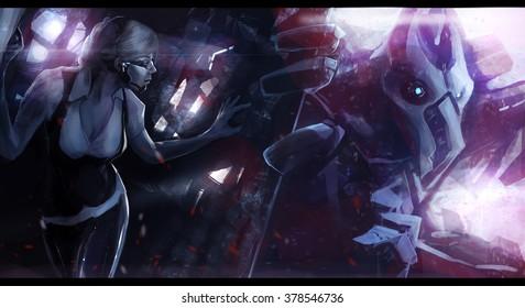Robot alien monster chasing woman. Futuristic sci-fi scene illustration of a woman escaping huge robotic alien monster.