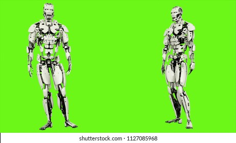 Robot android is agreeing. Realistic looped motion on green screen background. 3D Rendering.