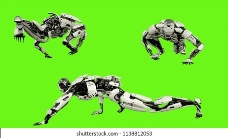 Robot android crawling. Realistic motion on green screen. 3D Rendering.