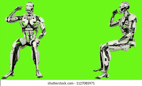 Robot android is emotionally reacts and waves fist. Realistic looped motion on green screen background. 3D Rendering.