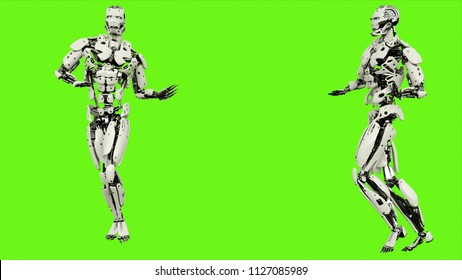 Robot android with a graceful gait. Realistic looped motion on green screen background. 3D Rendering.