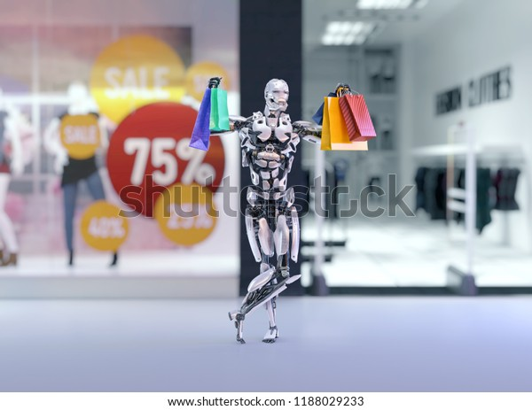 Robot android holding colorful shopping bags next to the shopping mall fashion store with sales advertising lables. Shopping on black friday concept.3D illustration