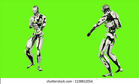 Robot android launches a ball of energy. Realistic motion on green screen. 3D Rendering.