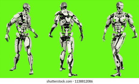 Robot android look back. Realistic motion on green screen. 3D Rendering.