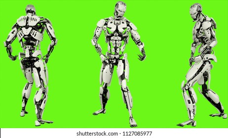 Robot android is playing guitar. Realistic looped motion on green screen background. 3D Rendering.