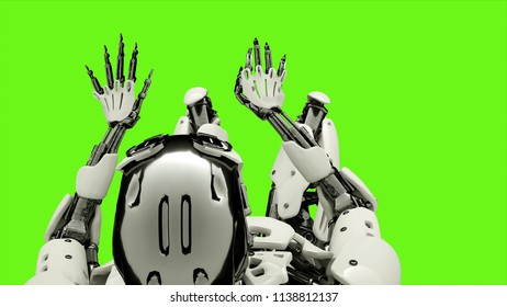 Robot android playing the piano. Realistic motion on green screen. 3D Rendering.