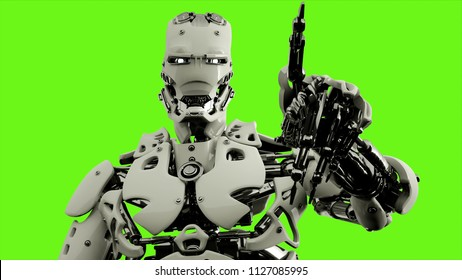 Robot android presses the keys. Realistic looped motion on green screen background. 3D Rendering.