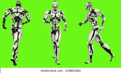 Robot android running. Realistic motion on green screen. 3D Rendering.
