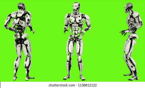 Robot android scared. Realistic motion on green screen. 3D Rendering.