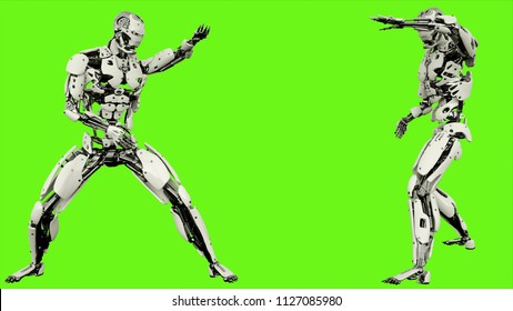 Robot android is shows your fighting skills Realistic looped motion on green screen background. 3D Rendering.