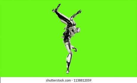 Robot android is shows your fighting skills. Realistic motion on green screen. 3D Rendering.