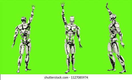 Robot android is waving a greeting. Realistic looped motion on green screen background. 3D Rendering.