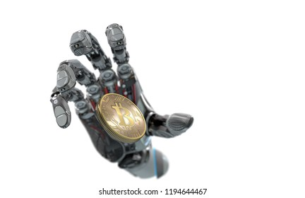 Robot Arm bitcoin grab conceptual 3d illustration with copyspace