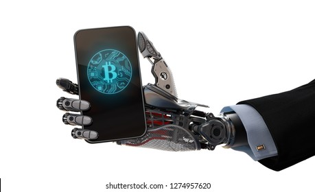 Robot arm holding smartphone 3d illustration