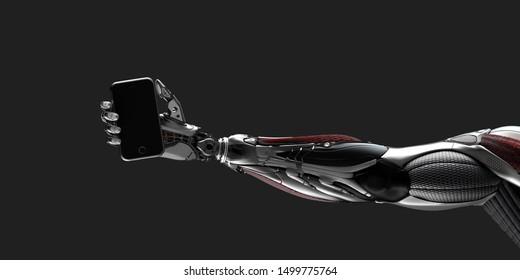 Robot arm holding smartphone on flat background 3d render