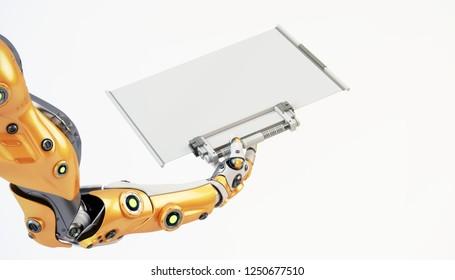 Robot arm holding transparent tablet, 3d rendering
