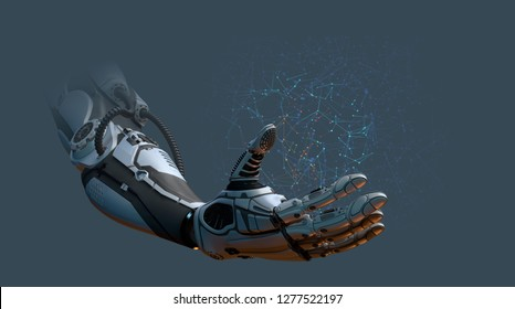 Robot arm network concept, 3d render