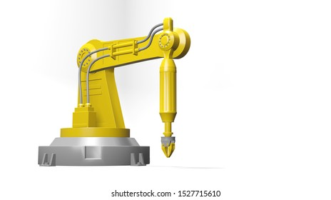 Robot arm on with background with coppy space. 3d Rendering
