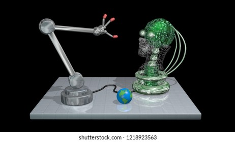 Robot arm opens fingers, hand as AI examines itself with head, eyes. 3d render