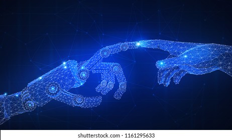 Robot arm touching human hand. Automatization, robotics, 4IR Fourth Industrial Revolution, AI artificial intelligence, smart contract agreement, blockchain and cryptocurrency, business network concept