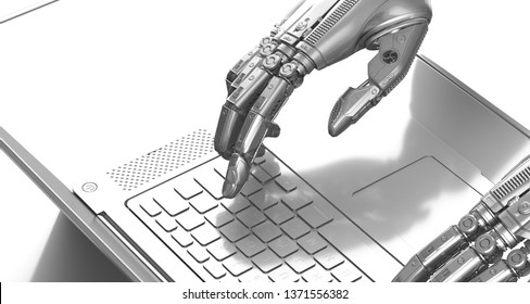 Robot arms typing on notebook keyboard, 3d render