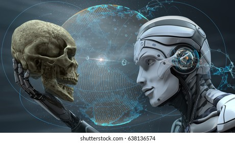 Robot with Artificial Intelligence observing human skull in Evolved Cybernetic organism world. 3d rendered image