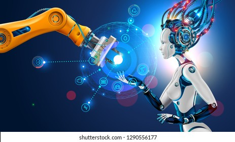 Robot with artificial intelligence takes control of factory into their hands. Robotic arm goes into the management of AI. Hud interface with icons management of industrial automation of manufacturing.