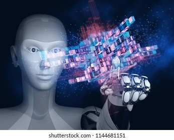 Robot with artificial intelligence working with big data. 3D illustration.
