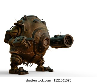 robot ball in a white background 3d illustration