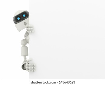 Robot with a blank sign - High quality render
