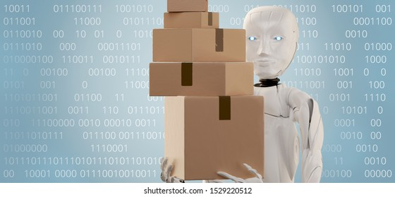 robot with boxes and binary code technology computer language 3d-illustration