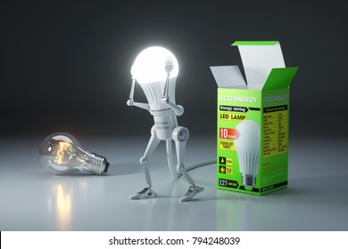 Robot bulb replacement a traditional lamp to an energy saving LED lamp. 3d concept