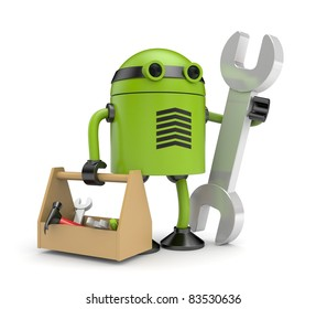 Robot with cardboard box