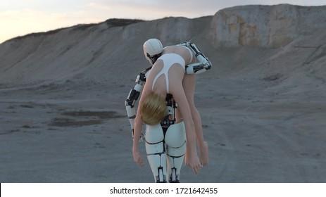 le robot porte une femme inconsciente, illustration 3d