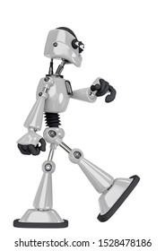 robot cartoon walking side view, 3d illustration