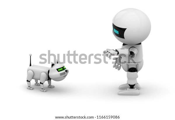 Robot Cat 3d Rendering Illustration Isolated Stock