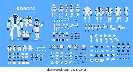 Robot character set for the animation with various views, hairstyle, emotion, pose and gesture. Artificial inteligence and cyborg. Isolated  illustration in cartoon style