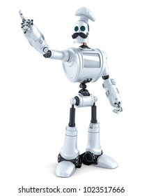 Robot Chef pointing over white background. 3D illustration. Isolated. Contains clipping path.