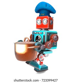 Robot Chef with saucepan. 3D illustration. Isolated. Contains clipping path.