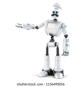 Robot Chef showing invisible object. 3D illustration. Isolated. Contains clipping path