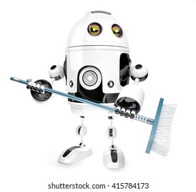 Robot cleaner with mop. Isolated over white. 3D illustration. Contains clipping path.
