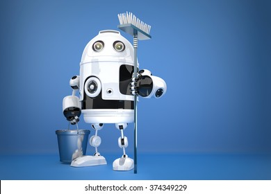 Robot Cleaner with mop. Technology concept. Contains clipping path