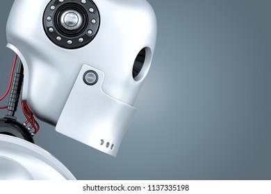 Robot close-up portrait. 3D illustration. Contains clipping path