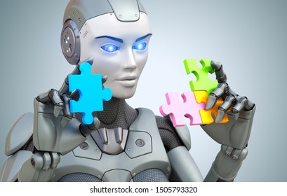 Robot collects puzzle . 3D illustration,