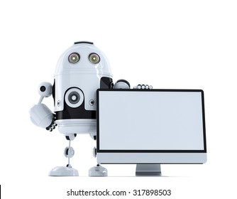 Robot with computer monitor. Technology concept. Isolated on white background