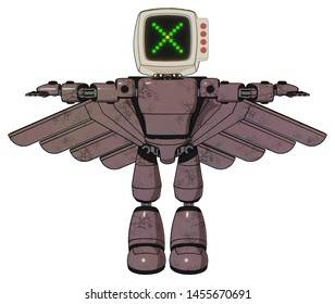 Robot containing elements: old computer monitor, pixel x, red buttons, light chest exoshielding, prototype exoplate chest, pilot's wings assembly, light leg exoshielding.