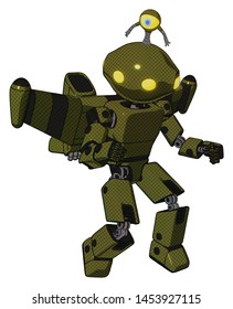 Robot containing elements: oval wide head, yellow eyes, minibot ornament, light chest exoshielding, prototype exoplate chest, stellar jet wing rocket pack, prototype exoplate legs.